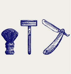 Straight razor and shaving brush vector image vector image