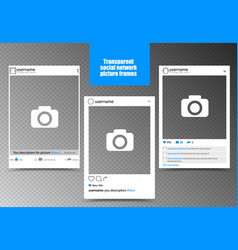 white photo frame for social network picture with vector image vector image