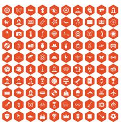 100 photo icons hexagon orange vector