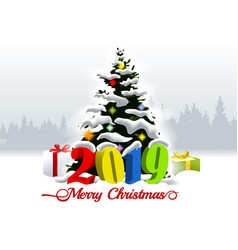 2019 merry christmas and winter landscape vector