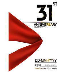 31 anniversary design with big red ribbon vector