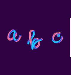 3d gradient lettering holographic font set vector image