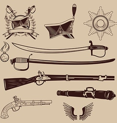 A collection of ancient weapons hussar caps and vector