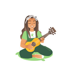 a long haired girl or a young beautiful woman sits vector image