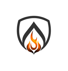 abstract fire shield flame logo concept logo vector image