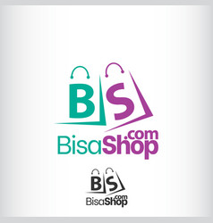 abstract letter b s on shopping bag vector image