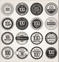 Anniversary retro labels collection 100 years vector