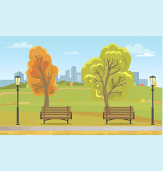 autumn city park with benches and streetlight vector image