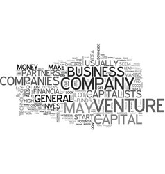 Basic venture capital text word cloud concept vector