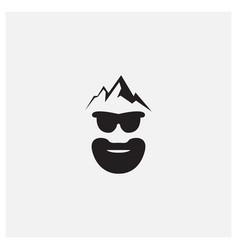 Beard man head with mountain logo design vintage vector