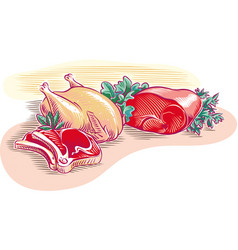 Beef and chicken cutlet vector