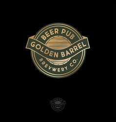 beer pub logo gold beer barrel emblem vector image