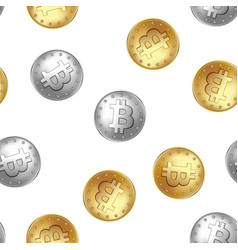 bitcoin golden and silver coin seamless pattern vector image
