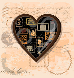 brown heart in vintage style vector image