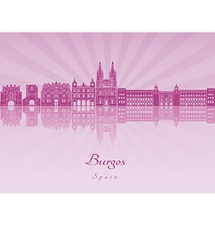 Burgos skyline in purple radiant orchid vector image