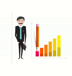 business man with case and success graph on vector image vector image