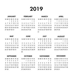 Calendar 2019 year on a white background week vector