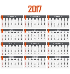 Calendar for 2017 Week starts on Sunday vector image