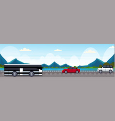 cars and passenger bus driving asphalt road near vector image