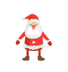 cartoon santa in red hat flat christmas vector image