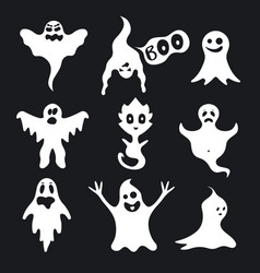 cartoon white ghosts characters set on a black vector image