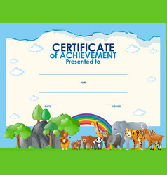 Certificate template with wild animals vector