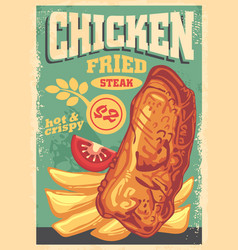chicken fried steak poster design vector image