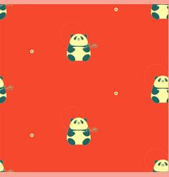 china seamless pattern with panda bear vector image