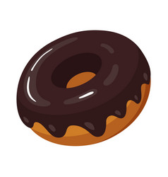 Chocolate snack donut icon frosted baked cake vector