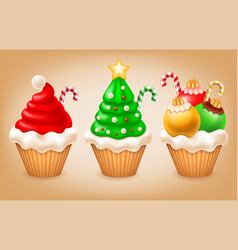 christmas cupcakes set vector image