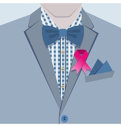 Close up of male blue suit and pink ribbon icon vector image