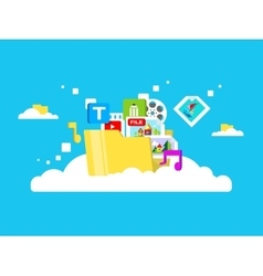 Cloud storage folder with files of different vector