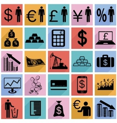 Collection flat icons with long shadow Finance vector image