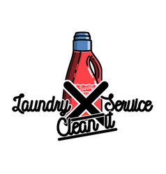 Color vintage laundry services emblem vector