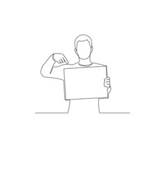 Continuous one line man with a sign points to vector