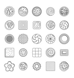 Cookies biscuit icons set outline style vector