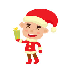 cute little christmas boy elf smiling vector image