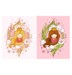 cute little princess with light and dark long hair vector image