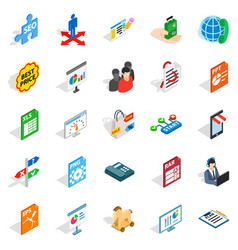 Data storage icons set isometric style vector