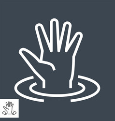drowning victim thin line icon vector image