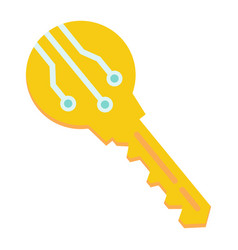 Electronic key flat icon security and access vector