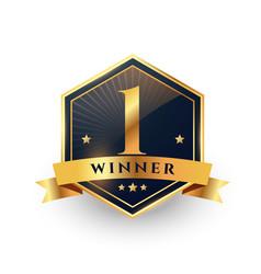 First place number one winner golden label design vector