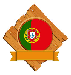 flag of portugal on wooden board vector image