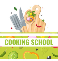 flat design banner of cooking school with cooking vector image