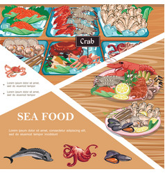 flat seafood template vector image