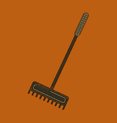 Flat shading style icon rake agricultural vector