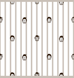 fun icon faces striped seamless pattern vector image