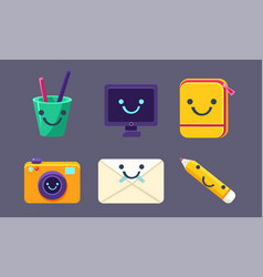 funny cute school stationery characters set pen vector image