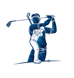 Golf players golfer action cartoon sport graphic vector