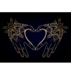 Graphic mehndi heart vector